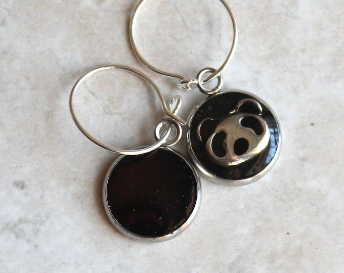 mismatched panda bear earrings on sterling silver hoops