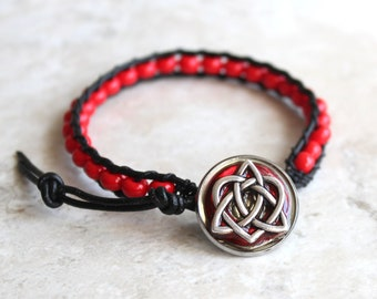 Red Celtic sister bracelet, best friend jewelry, Celtic heart, celtic knot, unique gift, sister gift, valentine gift, heart jewelry