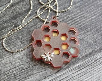honeycomb necklace, reversible pendant, nature necklace, bee necklace, unique gift, honeycomb jewelry