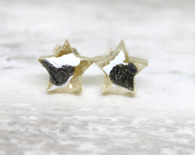 galaxy star earrings with sterling silver posts