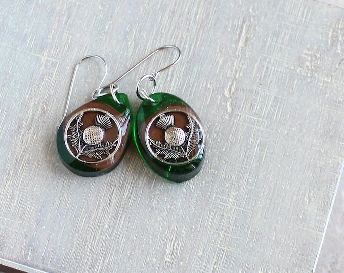 green and brown Scottish thistle earrings, mismatched dangle earrings, geometric earrings, concrete jewelry, unique gift