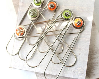 set of 6 floral jumbo paperclips gift set, flower bookmark, planner clip, bee bookmark