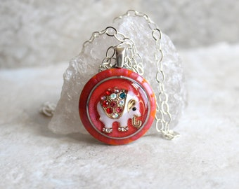 elephant necklace, nature necklace, elephant jewelry, spirit animal, good luck charm, unique gift, gift for her, co-worker gift
