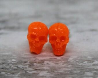 orange skull earrings, glow in the dark with sterling silver posts