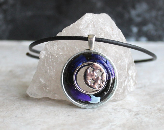 moon and stars necklace, Wiccan jewelry, celestial necklace, unique gift, lunar jewelry, lunar necklace