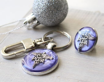 Physician assistant pin gift set, purple, PA pinning ceremony, PA keychain, PA pin