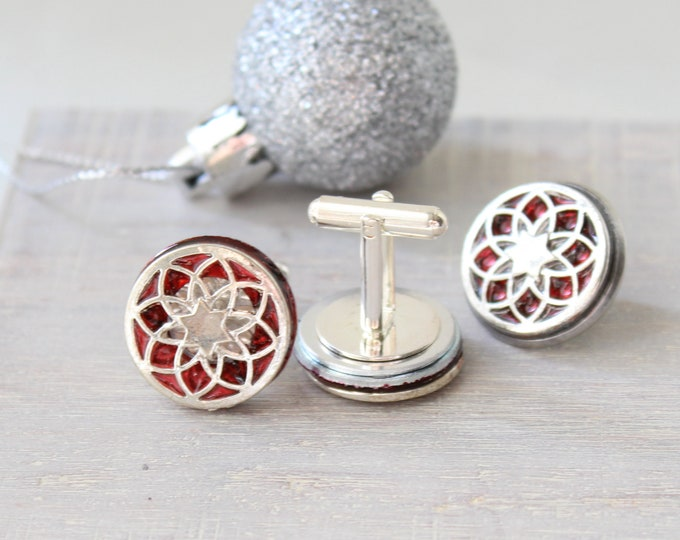 seed of life cufflinks and lapel pin gift set, red, mens jewelry