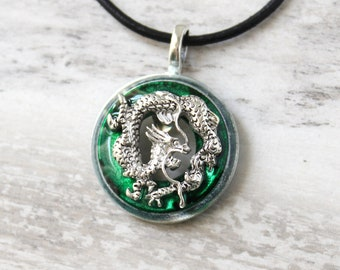 forest green Chinese dragon necklace, mens jewelry
