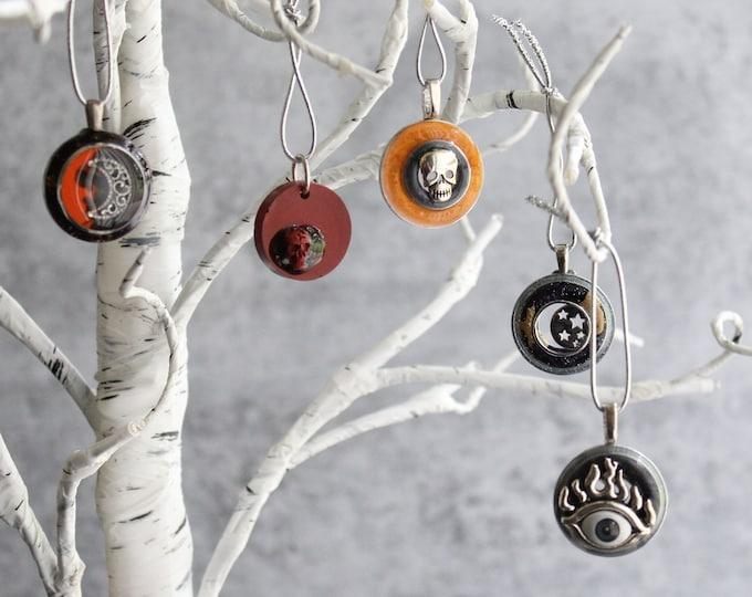 Halloween tree ornaments, set of 5, miniature tree