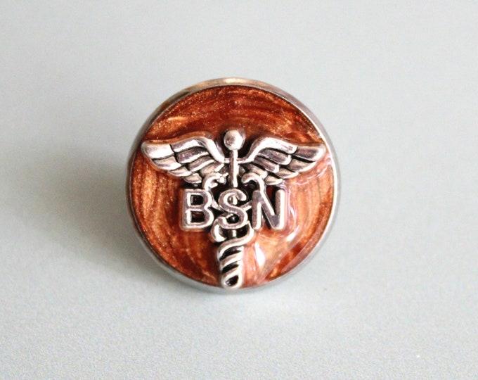 Bachelor of Science nursing pin, BSN pinning ceremony, nurse graduation gift, white coat ceremony, bronze