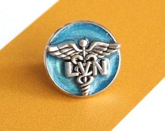 licensed vocational nurse pin, LVN lapel pin, pinning ceremony, white coat ceremony, sky blue, LVN gift
