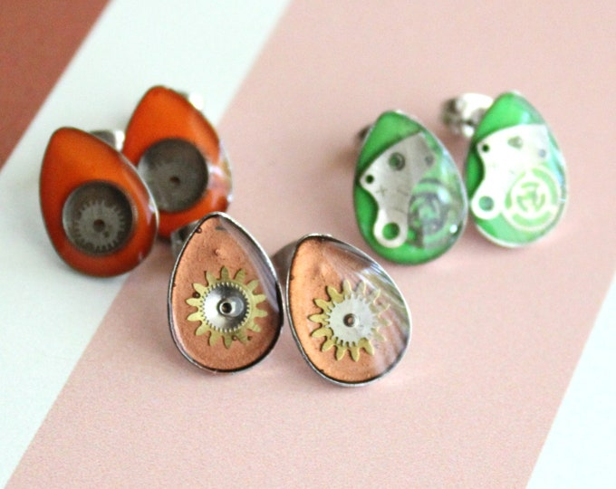 watch gear earrings with stainless steel posts, set of 3, steampunk earrings, unique gift, cosplay jewelry