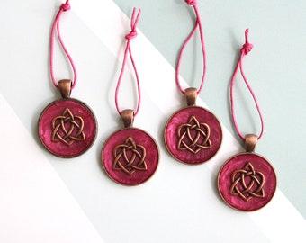 Celtic heart ornaments, set of 4, miniature tree, table top tree, wedding centerpiece