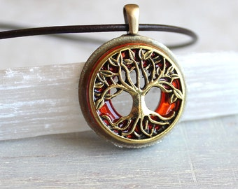 orange tree of life necklace, leather cord necklace, mens necklace, fantasy jewelry, celtic necklace, nature necklace, elven jewelry