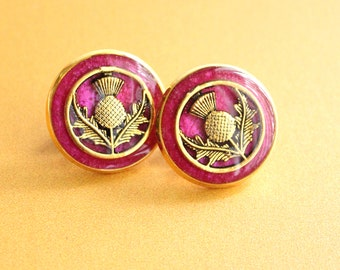 Scottish thistle pin, pink and gold, lapel pin, tie tack, mens jewelry, unique gift