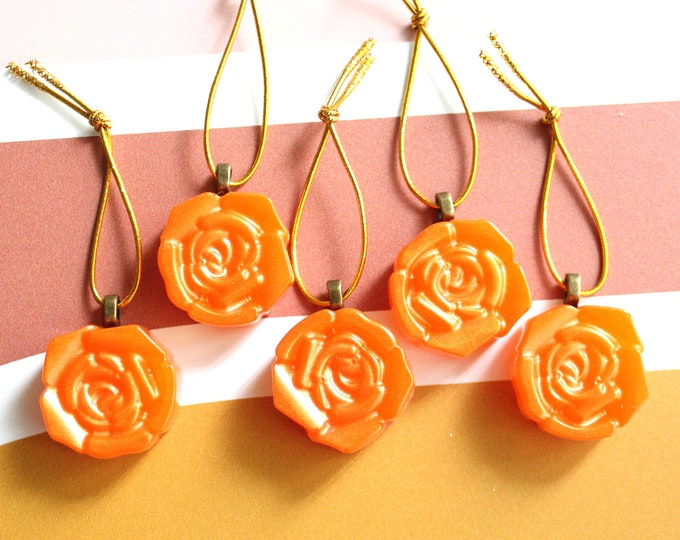 rose ornaments, set of 5, table top tree ornaments, spring tree decorations, miniature tree, flower ornaments, golden orange