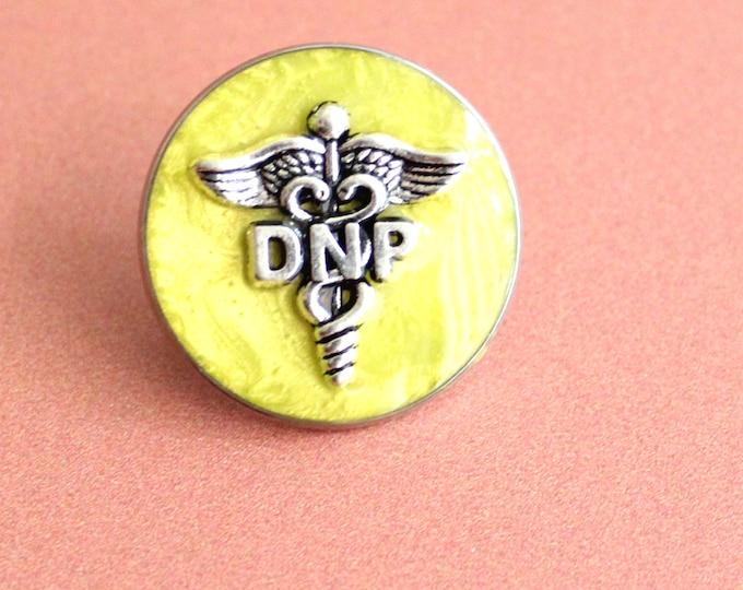 Doctor of nursing practice pin, DNP pinning ceremony, nurse graduation gift, white coat ceremony, yellow, large