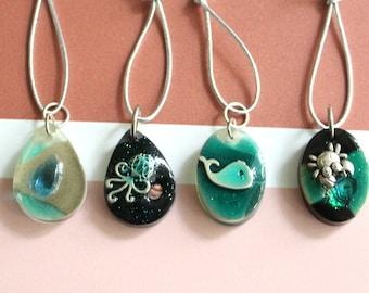 ocean themed tree ornaments, set of 4, miniature tree, summer ornaments, beach decor, nautical decor, beach house