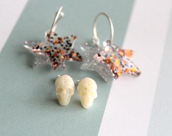 star earrings on sterling silver hoop with skull stud earrings, Halloween jewelry, Halloween earrings