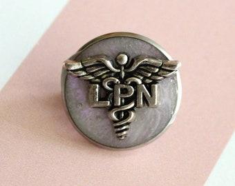 licensed practical nurse pin, LPN pinning ceremony, nurse graduation gift, white coat ceremony, pink opal