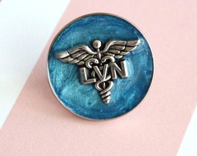 licensed vocational nurse pin, LVN pinning ceremony, white coat ceremony, blue, large