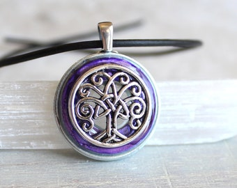 purple Celtic tree of life necklace, tree jewelry, unique gift, nature necklace, elven jewelry, mens jewelry, celtic jewelry, mens gift