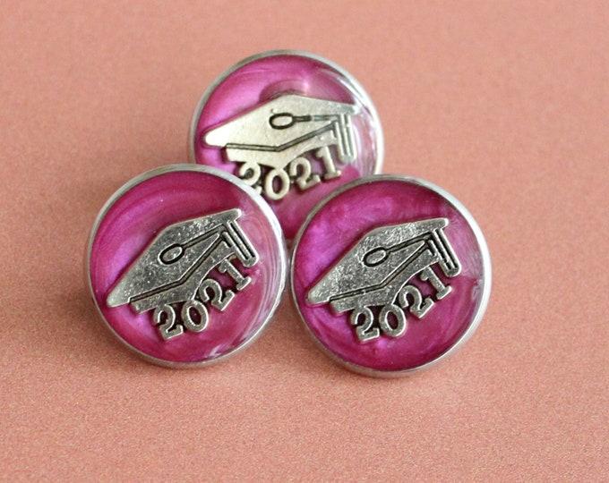 2021 graduation pin, pink, unique gift, lapel pin, tie tack, academic cap, graduate cap, mortarboard, trencher