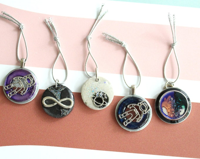outer space themed ornaments, set of 5, table top tree ornaments