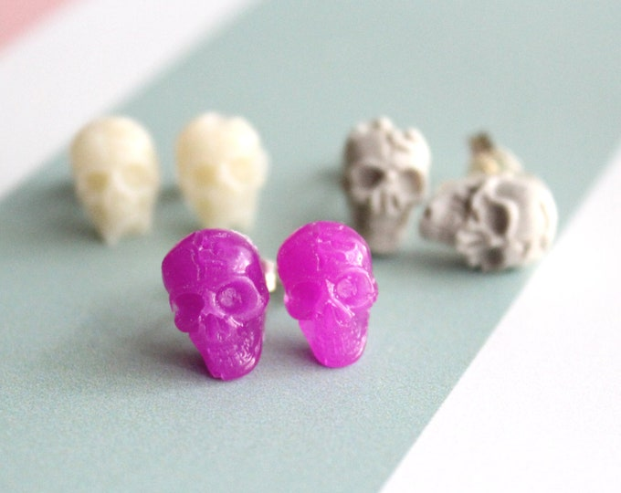 skull earrings with sterling silver posts, set of 3, unique gift, concrete jewelry