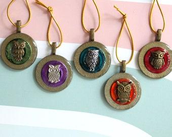 owl ornaments, set of 5, table top tree ornaments, miniature tree, bird ornaments, spring tree ornaments