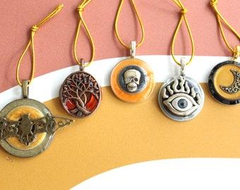 Halloween tree ornaments, set of 5, miniature tree, evil eye, spooky tree, crescent moon, skull ornament, Halloween decoration