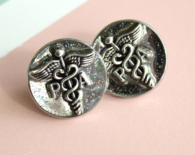 Physician assistant pin, silver, PA pinning ceremony, white coat ceremony, PA lapel pin, graduation gift