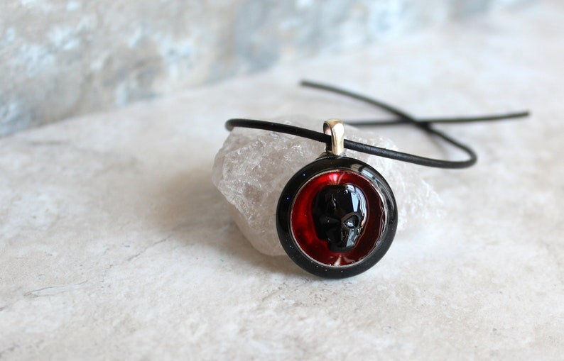 Red Skull Necklace Skull Jewelry Mens Necklace Mens Etsy