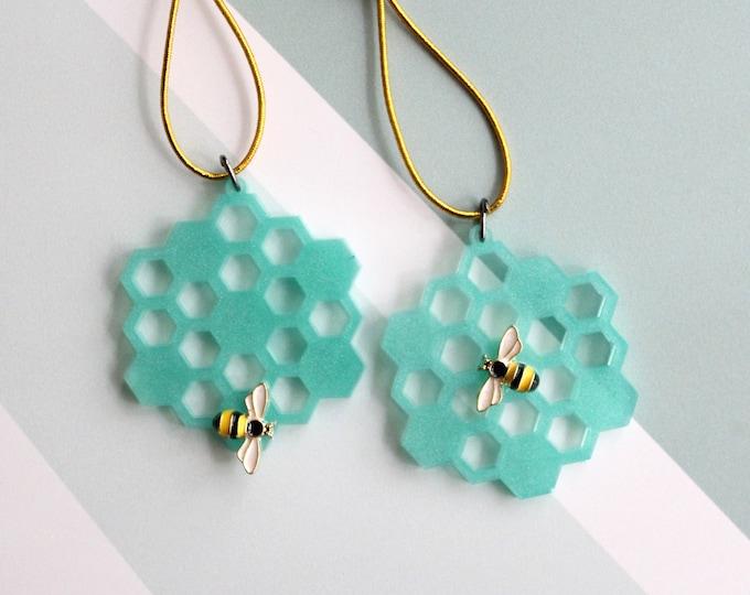 honeycomb ornaments, set of 2, green, miniature tree, spring ornaments, summer ornaments