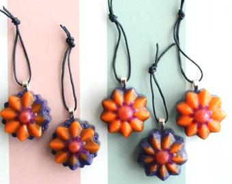 flower ornaments, set of 5, purple and orange, table top tree ornaments, Halloween tree decorations, miniature tree