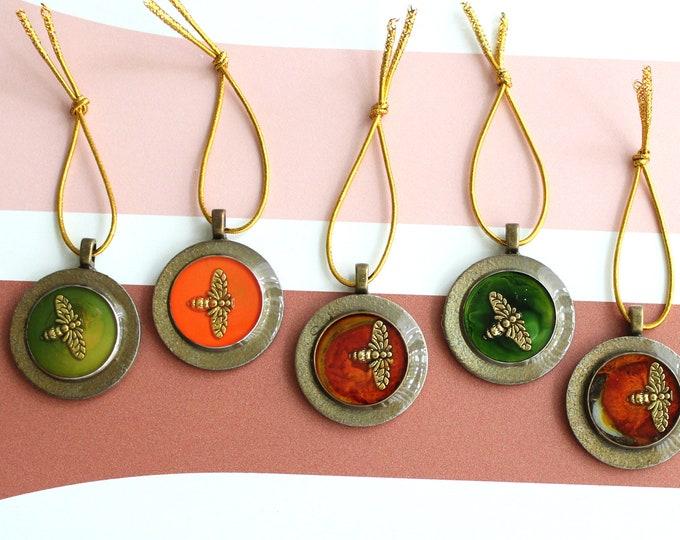 bee tree ornaments, set of 5, miniature tree, spring ornaments, summer ornaments, table top tree