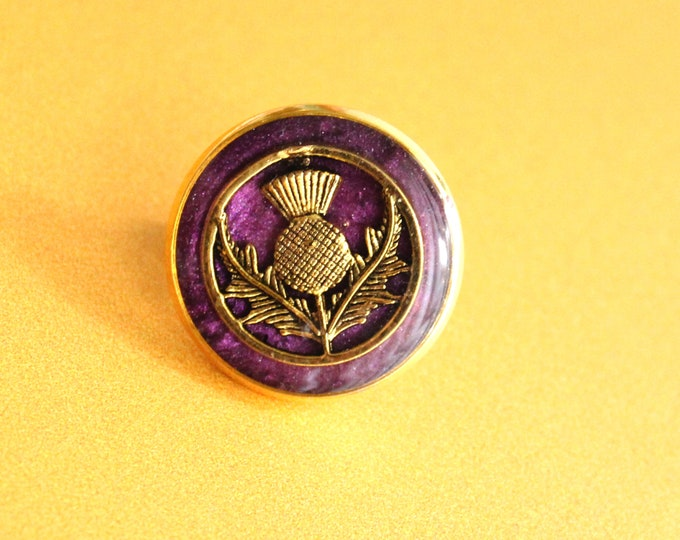 Scottish thistle pin, purple and gold, lapel pin, tie tack, mens jewelry, unique gift
