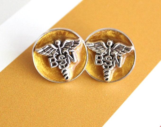 gold Bachelor of Science nursing pin, BSN pinning ceremony, nurse graduation gift, white coat ceremony