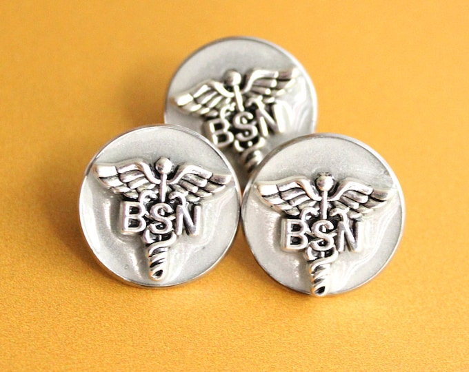 silvery white Bachelor of Science nursing pin, BSN pinning ceremony, nurse graduation gift, white coat ceremony