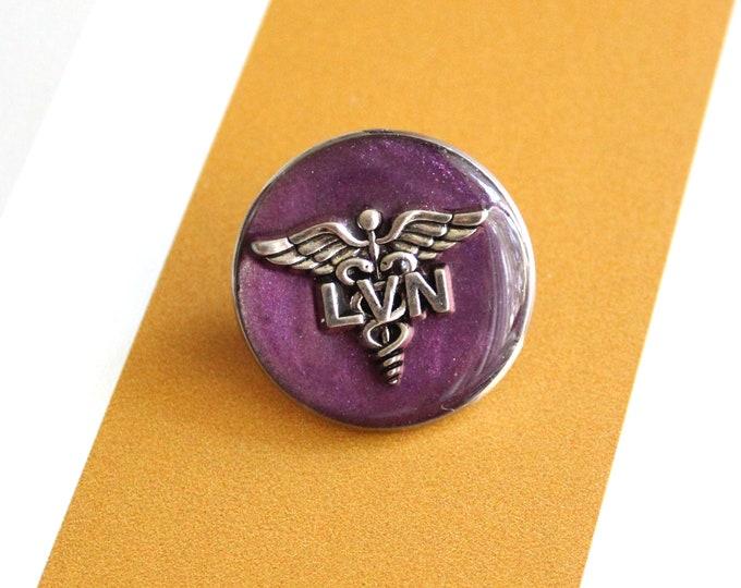 licensed vocational nurse pin, LVN pinning ceremony, white coat ceremony, purple, large