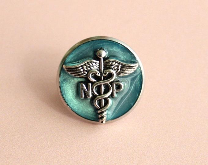 sky blue nurse practitioner pin, np pinning ceremony, nurse graduation gift, white coat ceremony, unique gift, nurse birthday