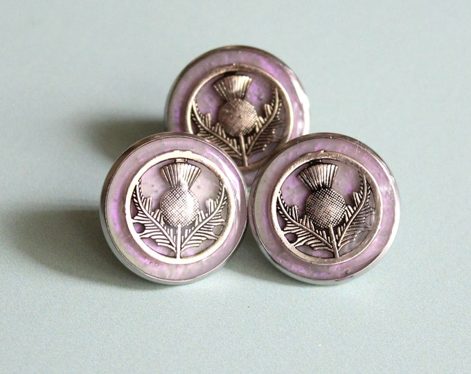 Scottish thistle pin, lapel pin, tie tack, Scottish wedding, nature jewelry, mens jewelry, unique gift, pink opal and silver