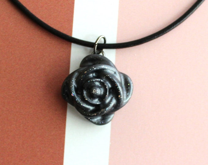 black rose necklace, nature necklace, floral jewelry, boho style, unique gift, cord necklace
