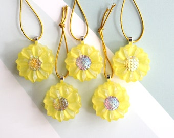 dahlia ornaments, set of 5, yellow, table top tree ornaments, miniature tree, flower ornaments, bohemian home