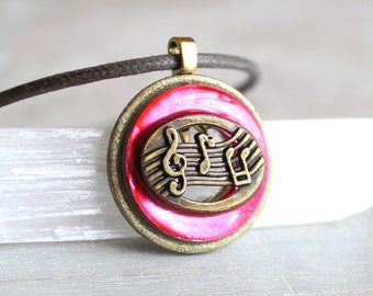 pink music necklace, musical jewelry, musical note, treble clef, music melody, musician gift, music lover, music teacher, graduation gift