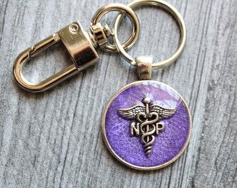 nurse practitioner keychain, NP keyring, unique gift, purple
