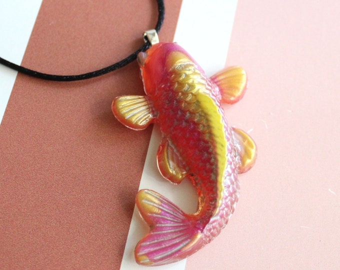 Koi fish necklace, nature necklace, fish jewelry, good luck charm, unique gift