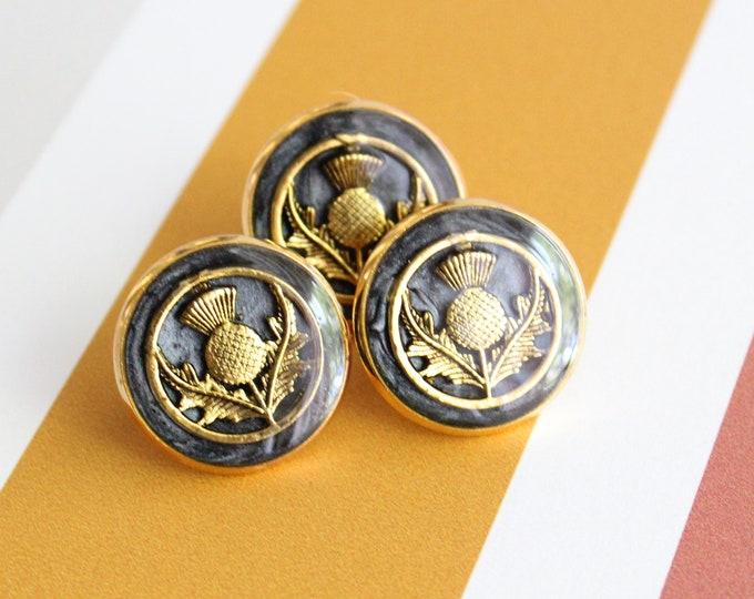 Scottish thistle pin, black and gold, lapel pin, tie tack, unique gift, Scottish jewelry