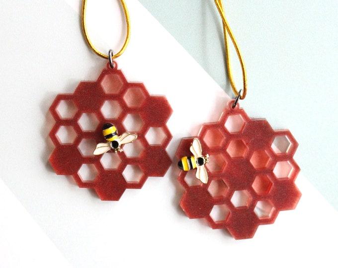 honeycomb ornaments, set of 2, coffee, miniature tree, spring ornaments, summer ornaments