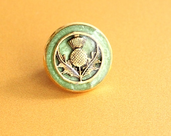 Scottish thistle pin, grass green and gold, lapel pin, tie tack, mens jewelry, unique gift